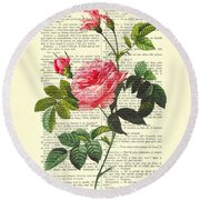 Pink Roses, Valentines Gift Round Beach Towel