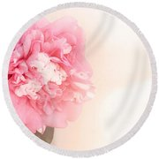 Round Beach Towel featuring the photograph Pink Ruffled Camellia by Cindy Garber Iverson