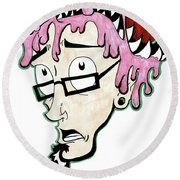 Round Beach Towel featuring the drawing Pink Savage  by Iconic Images Art Gallery David Pucciarelli