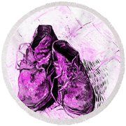 Round Beach Towel featuring the photograph Pink Shoes by John Stephens