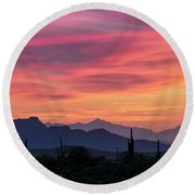 Round Beach Towel featuring the photograph Pink Silhouette Sunset  by Saija Lehtonen
