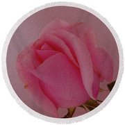 Pink Single Rose Round Beach Towel