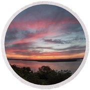 Pink Skies And Clouds At Sunset Over Lake Travis In Austin Texas Round Beach Towel