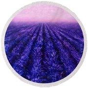 Abstract Lavender Field Landscape - Contemporary Landscape Painting - Amethyst Purple Color Block Round Beach Towel