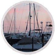 Pink Skies Round Beach Towel by Nance Larson
