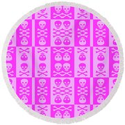 Pink Skull And Crossbones Pattern Round Beach Towel