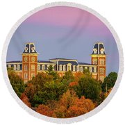 Pink Sky Over Old Main  Round Beach Towel
