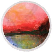 Pink Sky Over Water Abstract Round Beach Towel