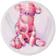 Round Beach Towel featuring the digital art Pink Sock Monkey by Jane Schnetlage