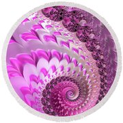 Pink Spiral With Lovely Hearts Round Beach Towel