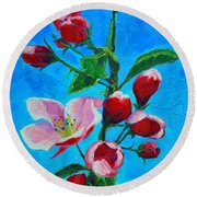 Round Beach Towel featuring the painting Pink Spring by Ana Maria Edulescu