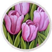 Pink Spring Tulips Round Beach Towel