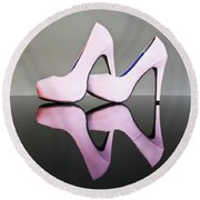 Round Beach Towel featuring the photograph Pink Stiletto Shoes by Terri Waters
