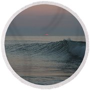 Pink Sun Sunrise Round Beach Towel