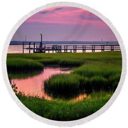 Pink Sunrise At Bogue Sound Round Beach Towel