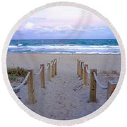 Pink Sunrise Beach Treasure Coast Florida C6 Round Beach Towel