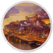 Pink Sunset In Porto Round Beach Towel