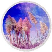 Pink Toi Toi Grasses Round Beach Towel