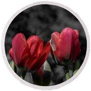 Pink Tulip Pop Round Beach Towel