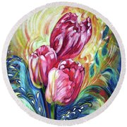 Pink Tulips And Butterflies Round Beach Towel by Harsh Malik