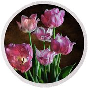 Pink Tulips Round Beach Towel