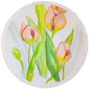 Round Beach Towel featuring the drawing Pink Tulips by J R Seymour