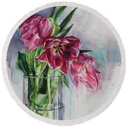 Pink Tulips Round Beach Towel by Tracy Male
