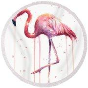 Pink Watercolor Flamingo Round Beach Towel