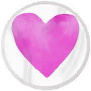 Round Beach Towel featuring the mixed media Pink Watercolor Heart- Art By Linda Woods by Linda Woods