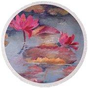 Pink Waterlilies Round Beach Towel
