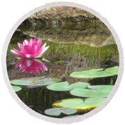 Pink Waterlilly  Round Beach Towel by Laurianna Taylor