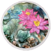 Round Beach Towel featuring the painting Pink Waterlily by Sherry Shipley