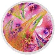 Round Beach Towel featuring the digital art Pink Web by Deborah Benoit