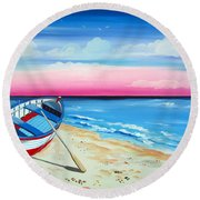 Pinkish Sunset And Boat Round Beach Towel