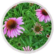 Pinks In Bloom Round Beach Towel
