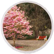 Pinky And The Bench - Impressionism Round Beach Towel