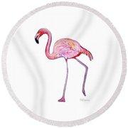 Pinky The Flamingo Round Beach Towel