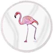 Pinky The Flamingo Round Beach Towel by Kristen Abrahamson