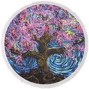 Pinky Tree Round Beach Towel