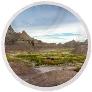 Pinnacles Of The Badlands Round Beach Towel
