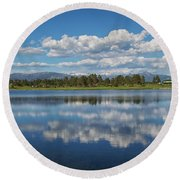 Pinon Lake Reflections Round Beach Towel