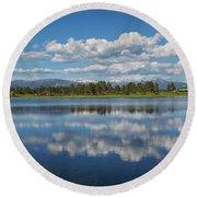 Pinon Lake Reflections Round Beach Towel by Jason Coward