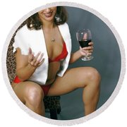 Pinup Babe Round Beach Towel