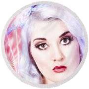 Pinup Girl With Dream Make-up And Hair Style Round Beach Towel