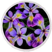 Pinwheel Purple Iris Glow Round Beach Towel by Penny Lisowski