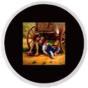 Round Beach Towel featuring the painting Pioneer Boys Napping On The Trail by Peter Gumaer Ogden