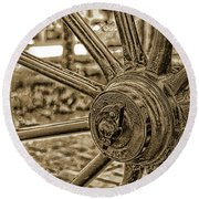 Round Beach Towel featuring the photograph Pioneer Wagon Wheel by Marie Leslie