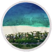 Pipeline Reef Overview Round Beach Towel
