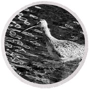 Piper Profile, Black And White Round Beach Towel