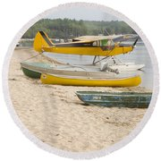 Piper Super Cub Floatplane Near Pond In Maine Canvas Poster Print Round Beach Towel by Keith Webber Jr